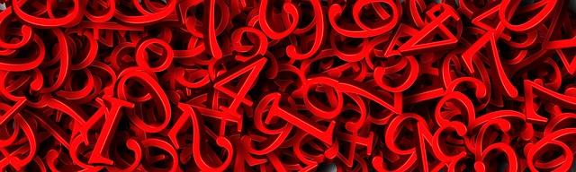 červené číslice